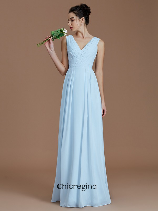 Modern Floor-Length A-Line/Princess V-neck Sleeveless Chiffon Bridesmaid Dresses With Ruched