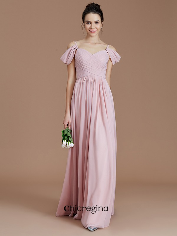 A-Line/Princess Off-the-Shoulder Floor-Length Chiffon Sleeveless Bridesmaid Dresses With Ruched