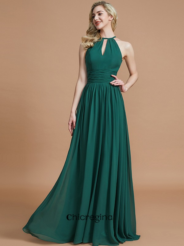 Floor-Length A-Line/Princess Chiffon Scoop Sleeveless Bridesmaid Dresses
