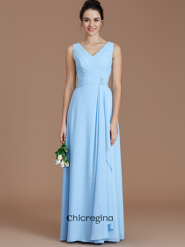 Glorious A-Line/Princess V-neck Floor-Length Chiffon Sleeveless Bridesmaid Dresses With Ruched