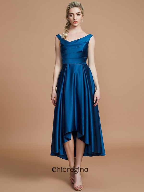 Asymmetrical A-Line/Princess V-neck Satin Sleeveless Bridesmaid Dresses