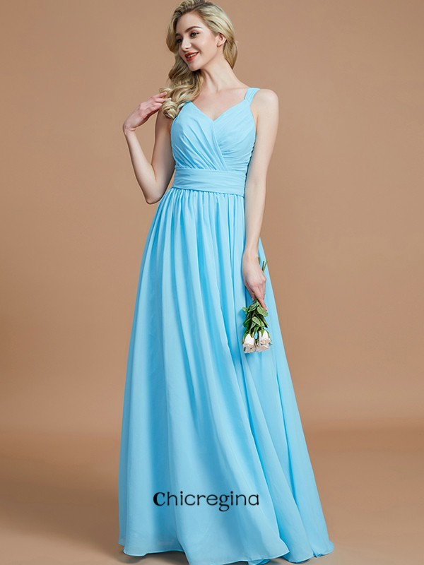 Pretty Floor-Length A-Line/Princess V-neck Chiffon Sleeveless Bridesmaid Dresses
