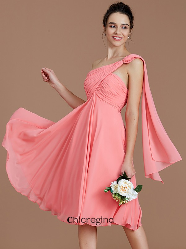 A-Line/Princess Chiffon One-Shoulder Sleeveless Short/Mini Bridesmaid Dresses With Ruched