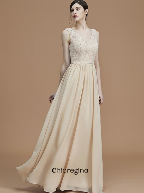 Floor-Length A-Line/Princess Chiffon V-neck Sleeveless Bridesmaid Dresses With Ruffles