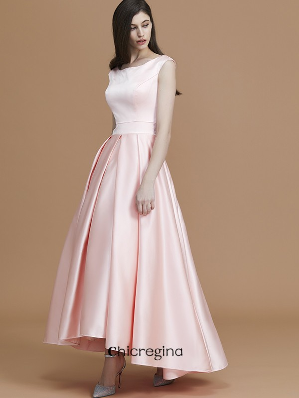 Asymmetrical A-Line/Princess Bateau Sleeveless Satin Bridesmaid Dresses With Ruffles