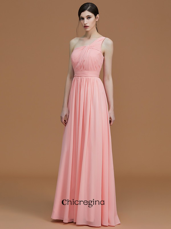 A-Line/Princess Floor-Length One-Shoulder Sleeveless With Ruched Chiffon Bridesmaid Dresses