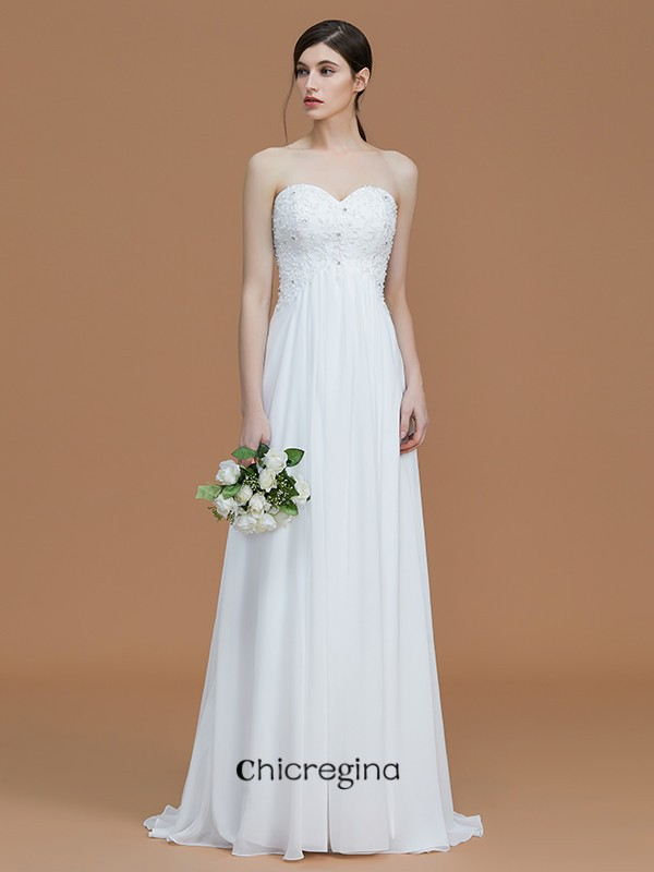 Sweep/Brush Train A-Line/Princess Sweetheart Sleeveless Chiffon Bridesmaid Dresses With Beading
