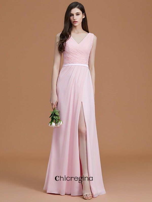 A-Line/Princess Floor-Length V-neck Sleeveless Chiffon Bridesmaid Dresses With Ruched