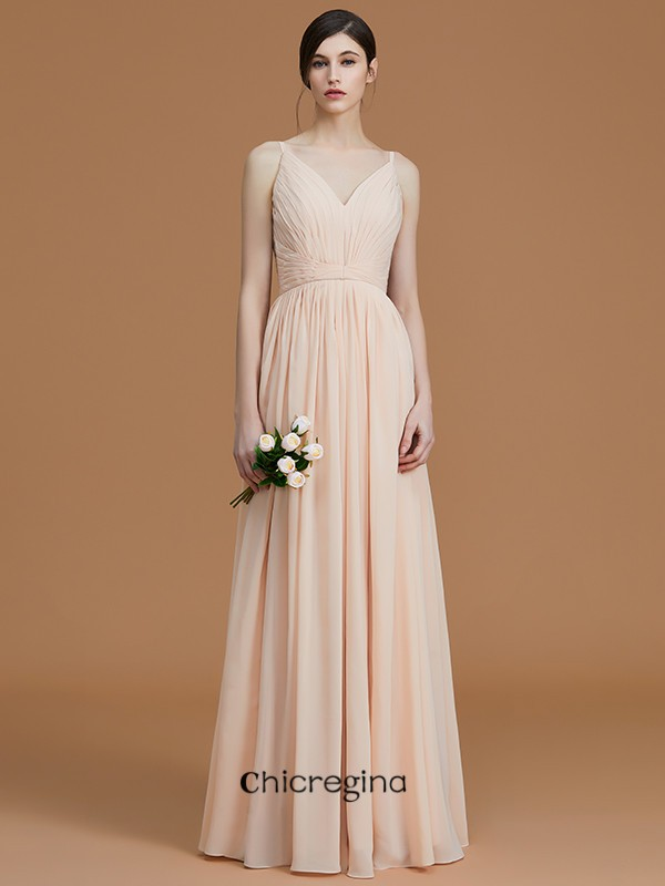 Charming A-Line/Princess Floor-Length V-neck Sleeveless Chiffon Bridesmaid Dresses With Ruffles
