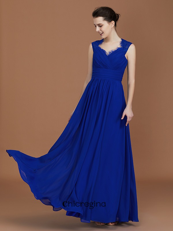 A-Line/Princess Sweetheart Floor-Length Chiffon Sleeveless Bridesmaid Dresses With Ruffles