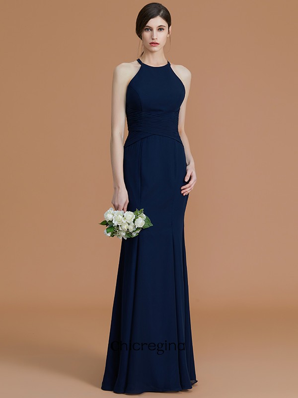 Smart Trumpet/Mermaid Floor-Length Halter Sleeveless With Ruched Chiffon Bridesmaid Dresses