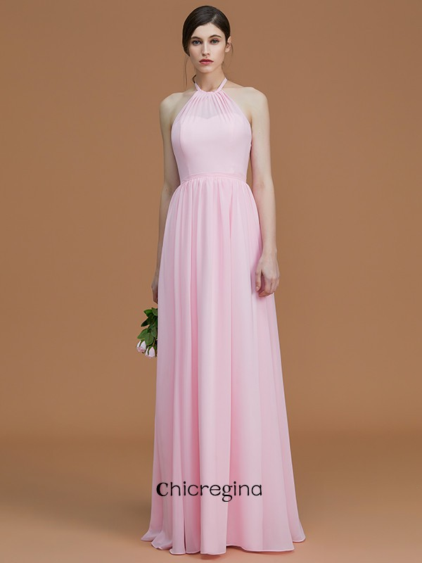 A-Line/Princess Floor-Length Halter Sleeveless Chiffon Bridesmaid Dresses With Ruched