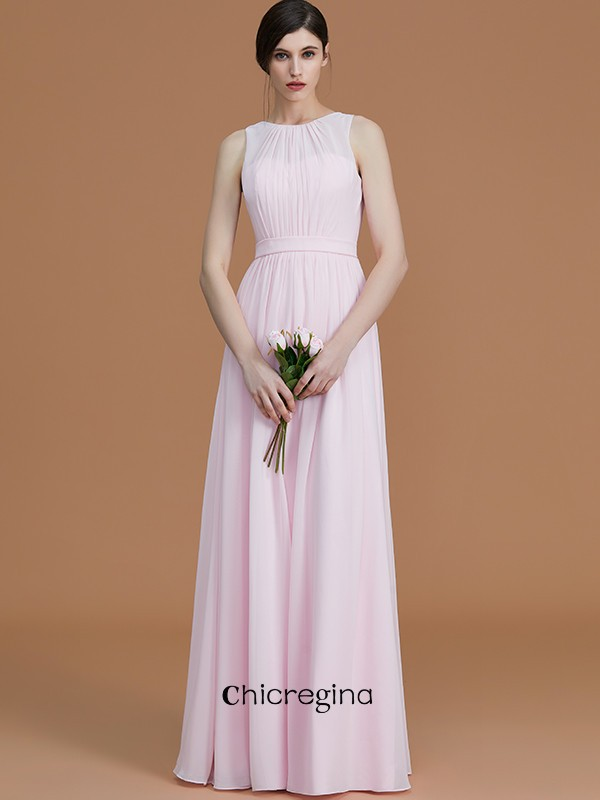 Delicate A-Line/Princess Jewel Sleeveless Floor-Length Chiffon Bridesmaid Dresses With Ruched