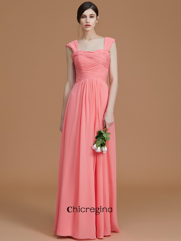 Floor-Length A-Line/Princess Sweetheart Sleeveless Chiffon Bridesmaid Dresses With Ruched