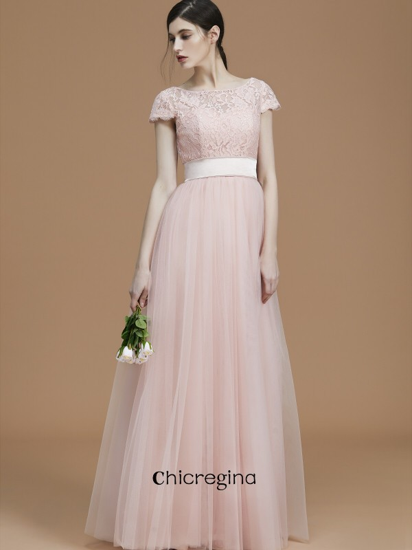A-Line/Princess Bateau Floor-Length Sash/Ribbon/Belt Short Sleeves Tulle Bridesmaid Dresses