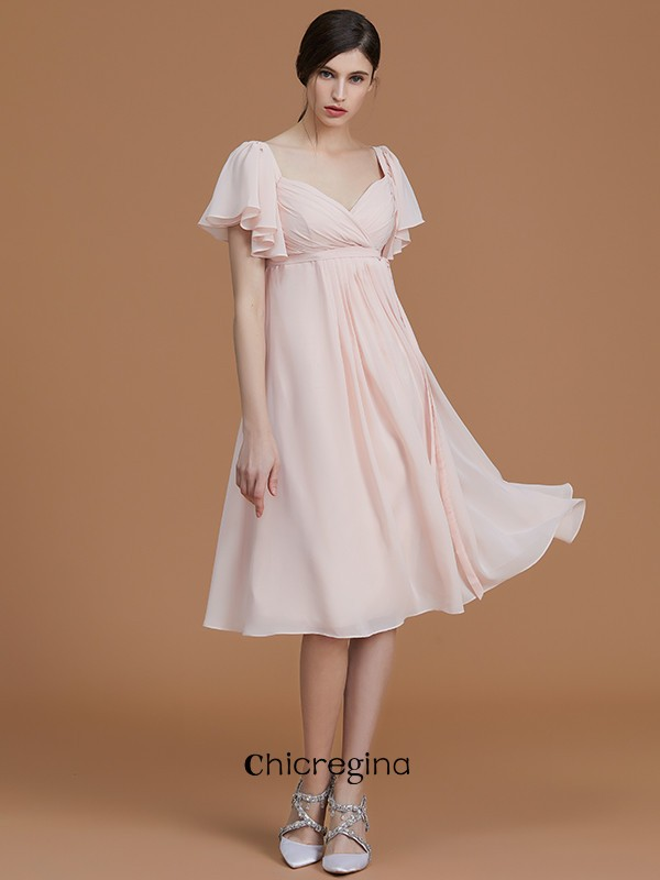 Fabulous Knee-Length Empire Sweetheart Short Sleeves Chiffon Bridesmaid Dresses With Ruched