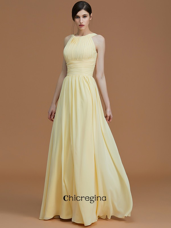 Floor-Length A-Line/Princess Halter Chiffon Sleeveless Bridesmaid Dresses With Ruched
