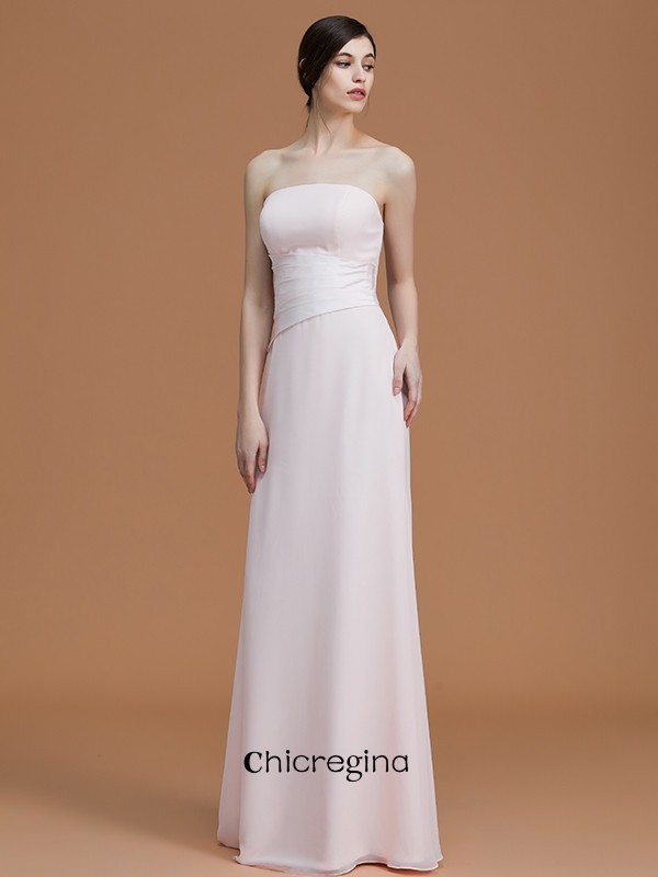 Floor-Length A-Line/Princess Strapless Sleeveless Chiffon Bridesmaid Dresses With Ruched