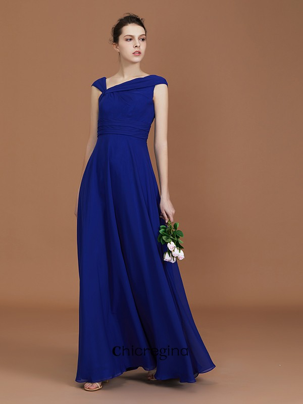 Floor-Length A-Line/Princess V-neck Sleeveless Chiffon With Ruffles Bridesmaid Dresses