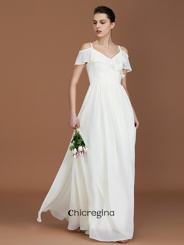 A-Line/Princess V-neck Floor-Length Short Sleeves Spaghetti Straps Chiffon Bridesmaid Dresses With Ruched