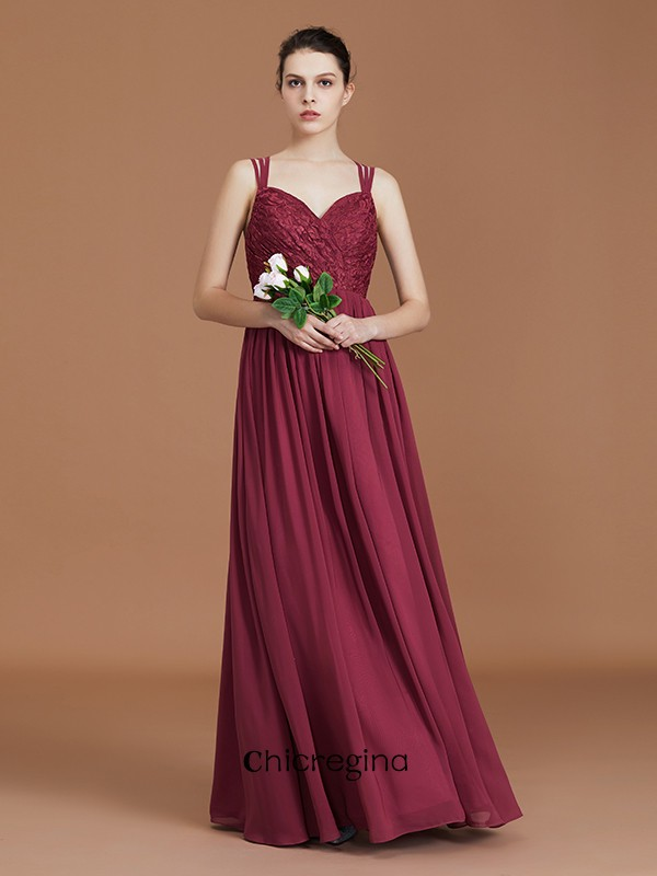 Unique Floor-Length A-Line/Princess Lace Sweetheart Chiffon Bridesmaid Dresses With Ruched
