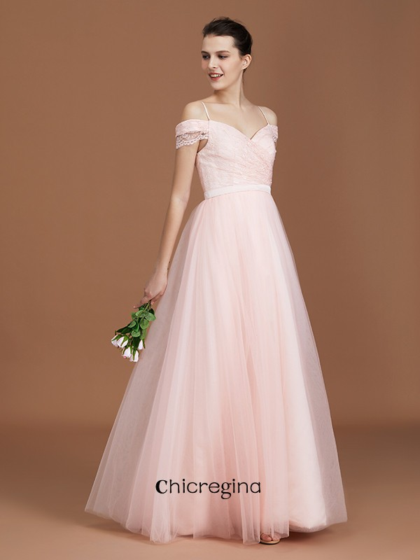 A-Line/Princess Sweetheart Floor-Length Short Sleeves Lace Spaghetti Straps Tulle Bridesmaid Dresses With Ruched