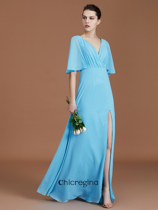 Flawless Floor-Length A-Line/Princess V-neck 1/2 Sleeves Chiffon Bridesmaid Dresses