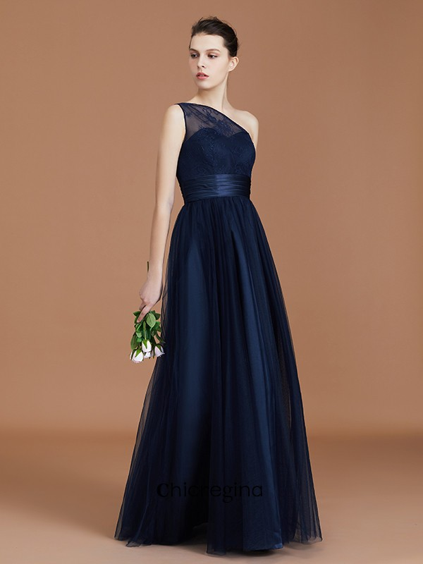 Floor-Length A-line/Princess One-Shoulder Lace Tulle Sleeveless Bridesmaid Dresses