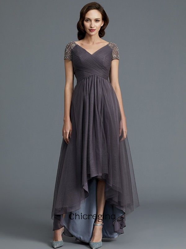 Fashional Asymmetrical A-Line/Princess V-neck Short Sleeves Tulle Mother of the Bride Dresses