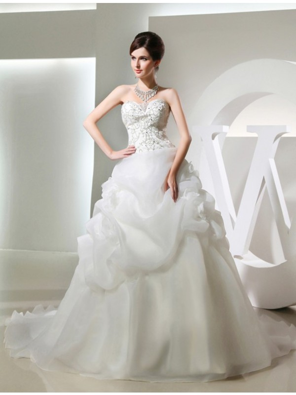 Ball Gown Hand-made Flower Sleeveless Long Organza Wedding Dresses With Beading
