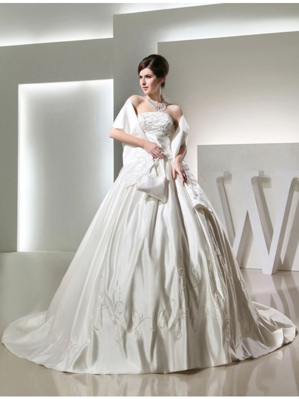 Ball Gown Strapless Sleeveless Satin Long Wedding Dresses With Beading