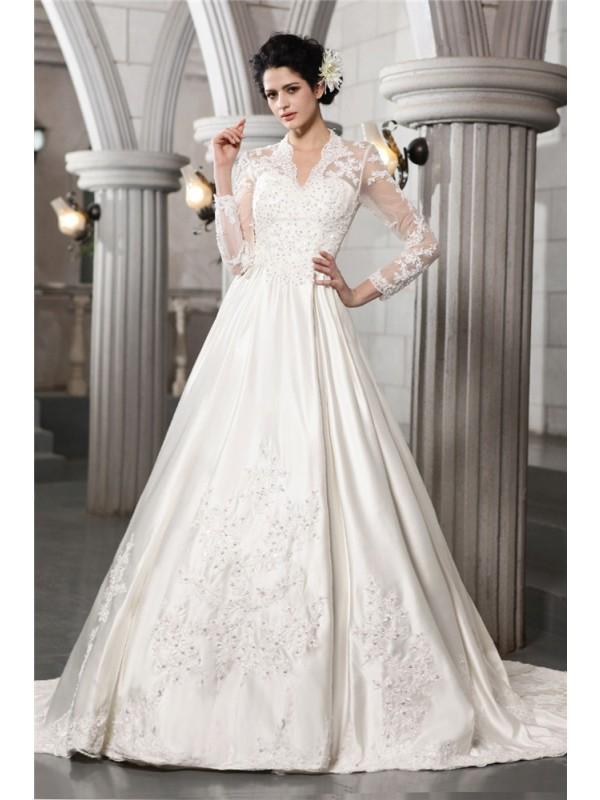 A-Line/Princess Satin Long Sleeves With Beading Applique Long Wedding Dresses