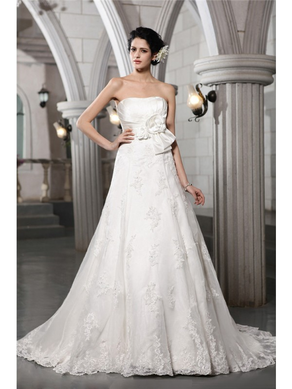 A-Line Strapless Sleeveless With Beading Applique Hand-Made Flower Satin Long Wedding Dresses