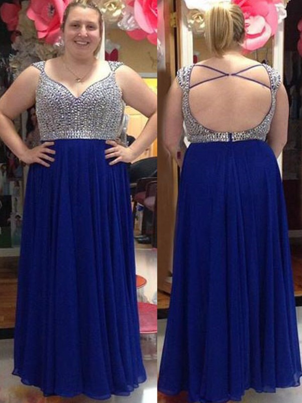A-Line Straps Sleeveless Floor-Length Chiffon Plus Size Dresses With Beading