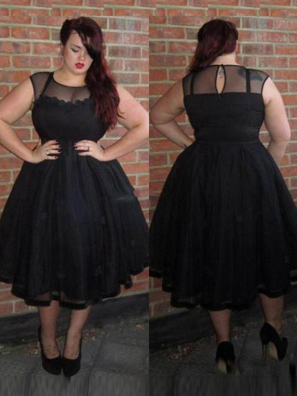 A-Line Scoop Sleeveless Ankle-Length Tulle Plus Size Dresses With Applique