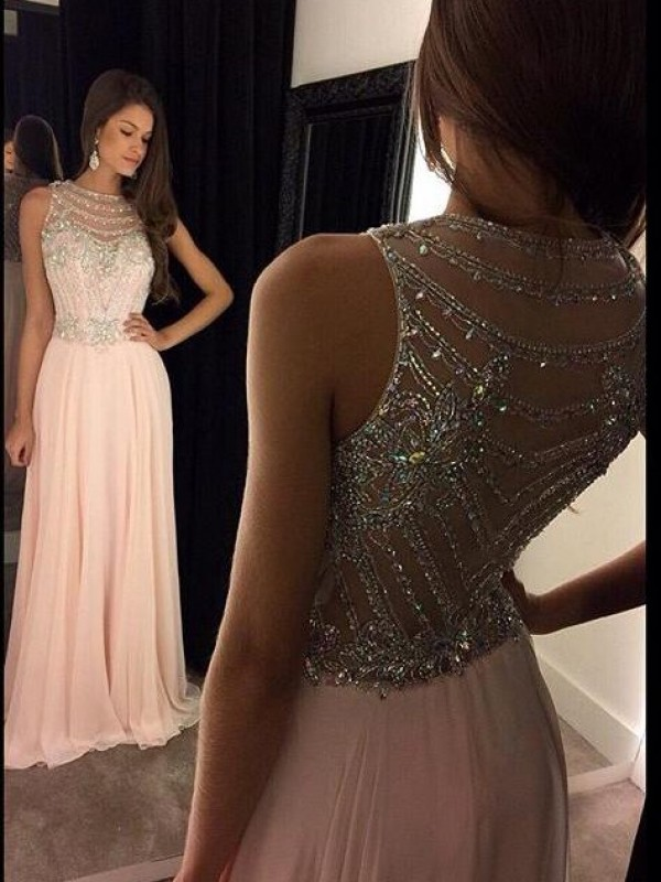 A-Line/Princess Scoop Sleeveless Crystal Floor-Length Chiffon Dresses