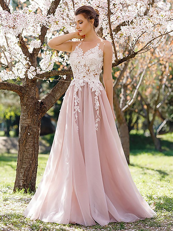 Floor-Length A-Line/Princess Jewel Sleeveless Tulle Dresses With Applique