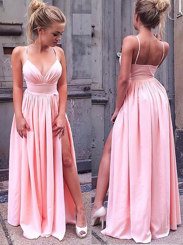 Shining A-Line Sleeveless Straps Floor-Length With Ruched Chiffon Dresses