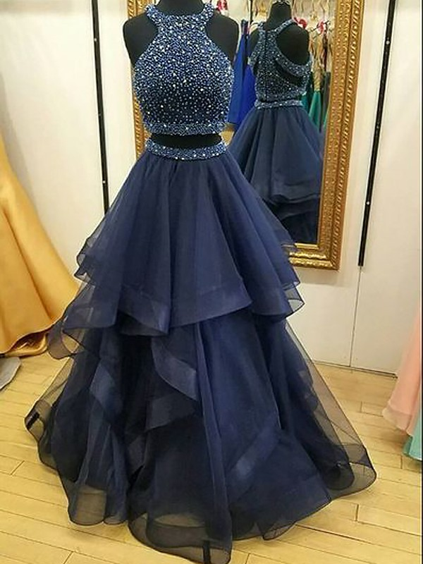 Floor-Length A-Line/Princess Sleeveless Halter Tulle Two Piece Dresses With Beading