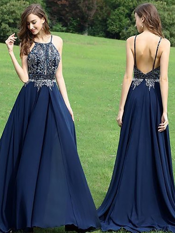 Floor-Length A-Line/Princess Sleeveless Halter Chiffon Dresses With Beading