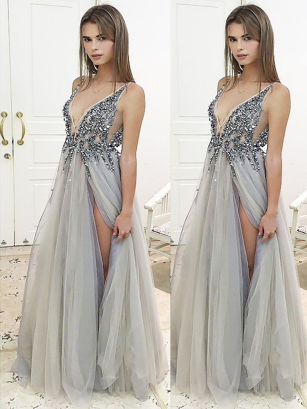 Floor-Length A-Line/Princess V-Neck Sleeveless Tulle Dresses With Beading