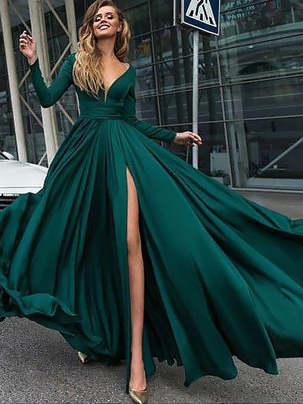 Splendid A-Line/Princess V-neck Floor-Length Long Sleeves With Ruffles Satin Chiffon Dresses