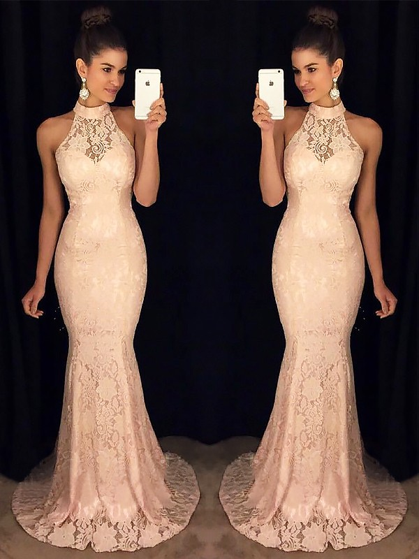 Mermaid High Neck Sleeveless Sweep/Brush Train With Ruffles Lace Dresses