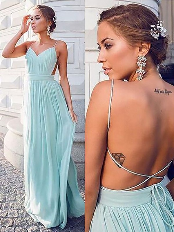 A-Line/Princess Spaghetti Straps Sleeveless Floor-Length Chiffon Dresses With Ruched