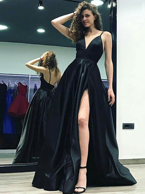 A-Line/Princess V-neck Floor-Length Sleeveless Satin Dresses With Ruffles