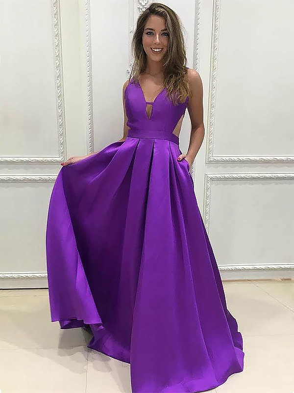 A-Line/Princess V-neck Sweep/Brush Train Sleeveless Satin Dresses With Ruffles