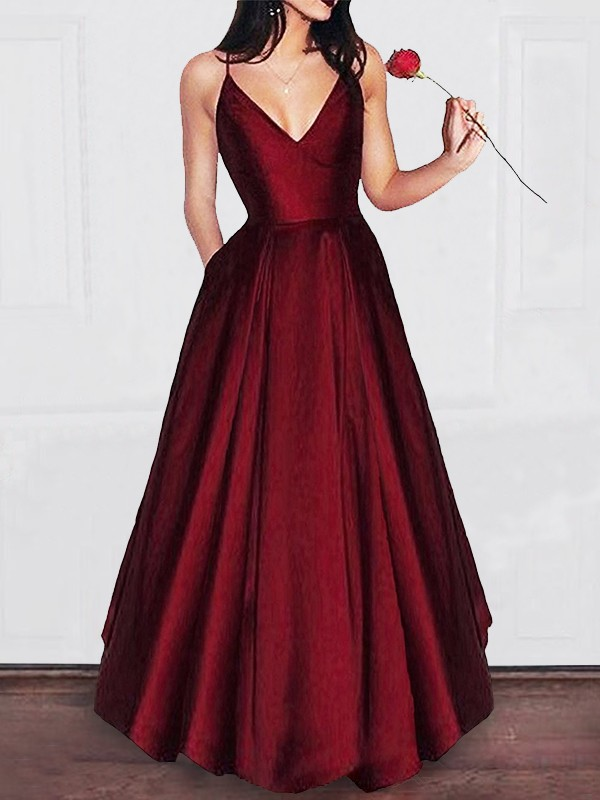 Awesome Floor-Length A-Line/Princess V-neck Satin Dresses With Ruffles