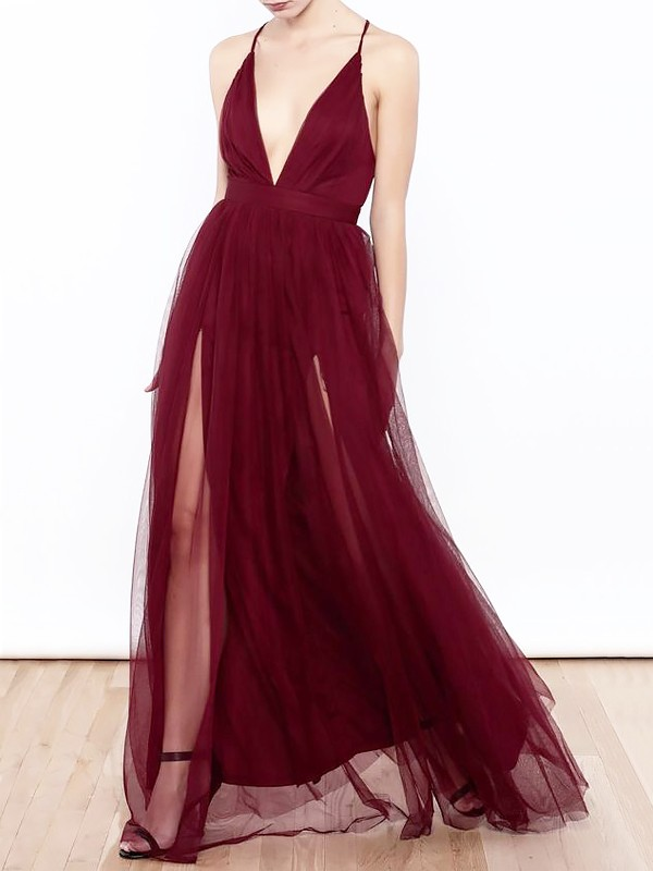Trendy A-Line/Princess V-neck Floor-Length Tulle Dresses With Ruffles