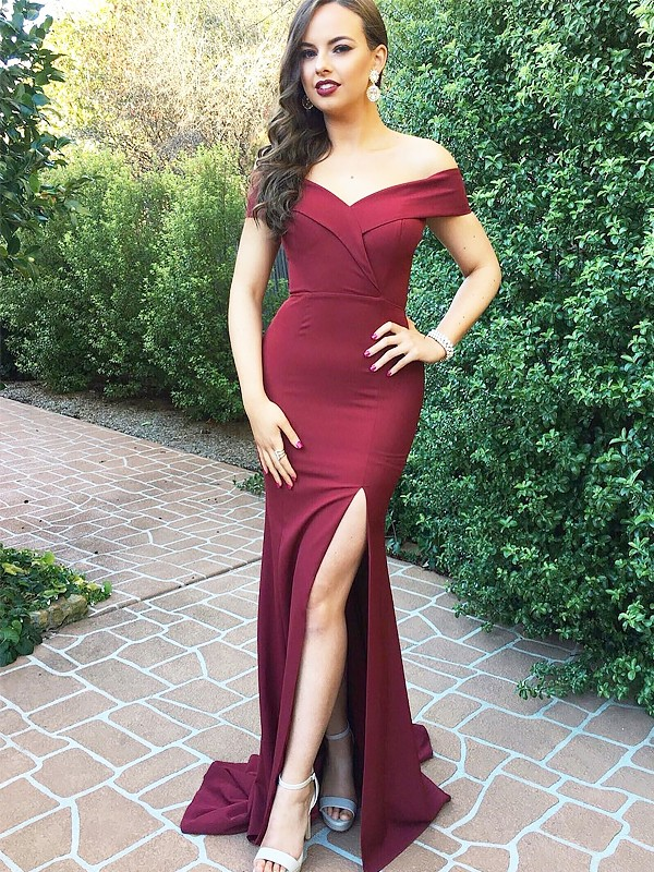 A-Line/Princess Off-the-Shoulder Floor-Length Satin Dresses With Ruched