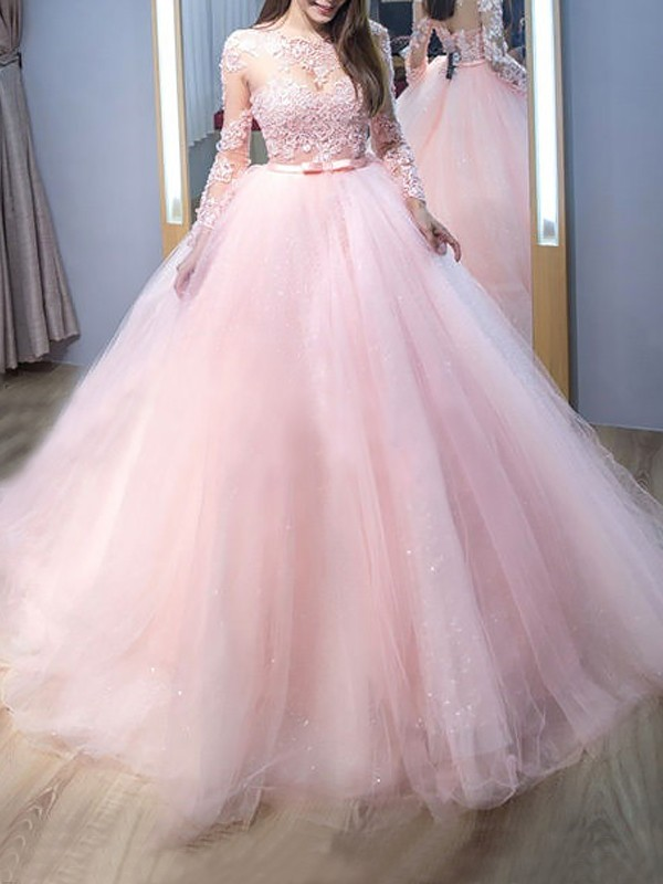 Stylish Jewel Ball Gown Long Sleeves Sweep/Brush Train Lace Tulle Dresses